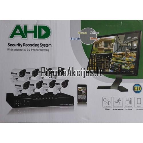 IP Stebėjimo vaizdo kameros AHD 5G 8vnt su įrašymu į kietajį diską ir stebėjimu online