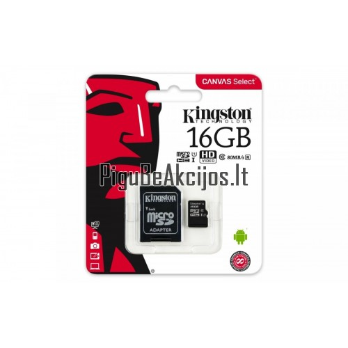 Atminties kortelė Kingston micro SD 16GB Class 10 U1